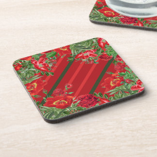 Christmas Red Rose Peony Flowers Floral Coaster