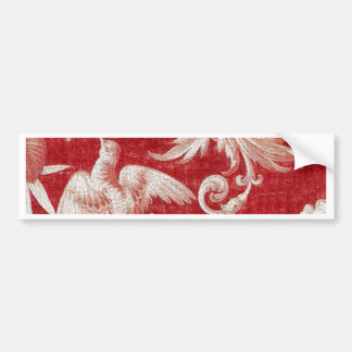 Christmas Red Shabby Toile Bumper Sticker
