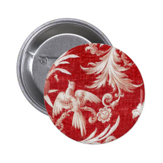 Christmas Red Shabby Toile Pinback Button
