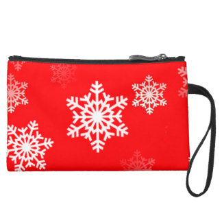 Christmas Red Snow Flurries Wristlets