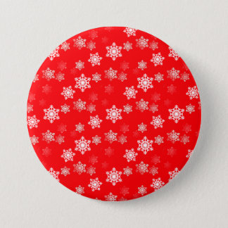 Christmas Red Snow Flurries Button