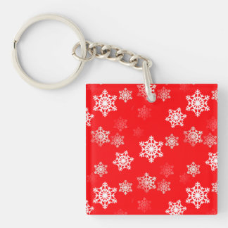 Christmas Red Snow Flurries Keychain