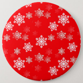 Christmas Red Snow Flurries Pinback Button