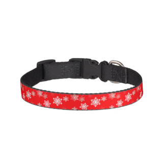 Christmas Red Snow Flurries Dog Collar