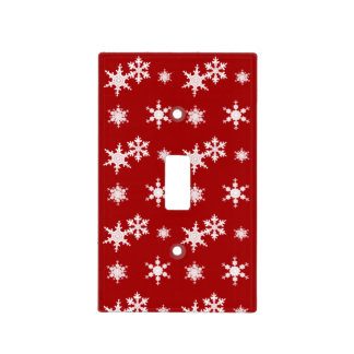 Christmas red snowflakes pattern light switch cover