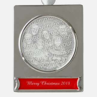 Christmas Red Solid Color Silver Plated Banner Ornament