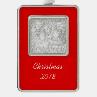Christmas Red Solid Color Silver Plated Framed Ornament
