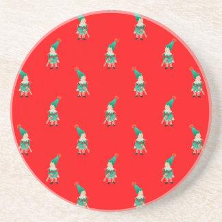 Christmas Red Toddler Children Elves Pattern Beverage Coaster