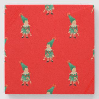 Christmas Red Toddler Children Elves Pattern Stone Coaster