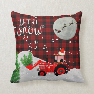 Christmas RED TRACTOR Lumberjack Buffalo Plaid Throw Pillow
