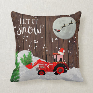 Christmas RED TRACTOR Rustic Wood Decor Throw Pillow