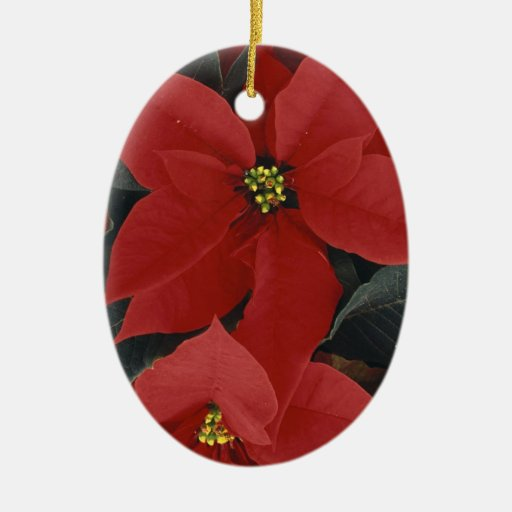 Christmas Red Velvet Poinsettias Tree Ornament