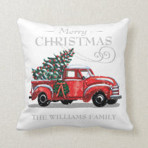 Christmas Red Vintage Truck Family Name Throw Pillow