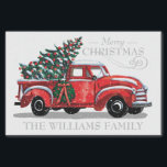"""Christmas Red Vintage Truck Family Name Tissue Paper<br><div class=""""desc"""">This holiday tissue paper features a vintage red pickup truck carrying a Christmas Tree in the back with a wreath on the side. Above it reads """"Merry Christmas"""" with your family name below for you to personalize. Designed by world renowned artist ©Tim Coffey.</div>"""