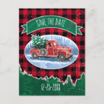 "Christmas Red Vintage Truck Save The Date Invitation Postcard<br><div class=""desc"">Invite your guests in style to a Christmas celebration with this save the date postcard featuring a winter scene of a classic red pickup truck driving through the snow, a fresh Christmas tree in the back. A green banner above has text for you to personalize. Background is a red and...</div>"