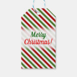 [ Thumbnail: Christmas; Red, White & Green Striped Pattern Gift Tags ]