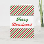 [ Thumbnail: Christmas; Red, White & Green Striped Pattern Card ]