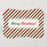 [ Thumbnail: Christmas; Red, White & Green Striped Pattern Invitation ]