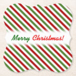 [ Thumbnail: Christmas; Red, White & Green Striped Pattern Paper Coaster ]