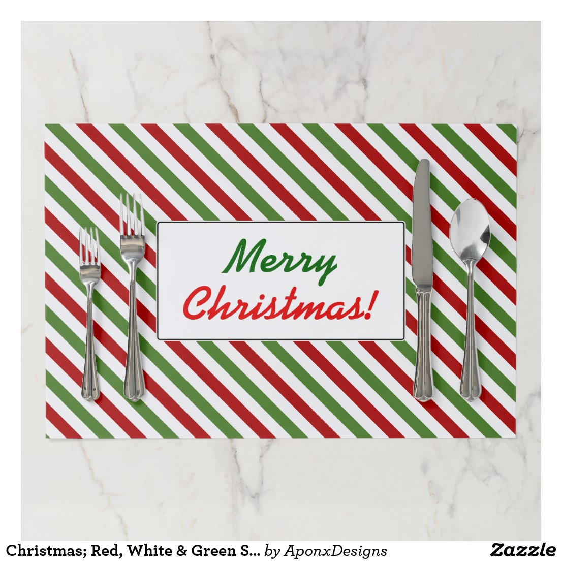 Christmas; Red, White & Green Striped Pattern Paper Placemat