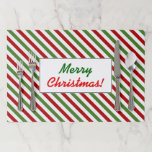 [ Thumbnail: Christmas; Red, White & Green Striped Pattern Paper Placemat ]