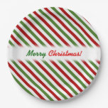 [ Thumbnail: Christmas; Red, White & Green Striped Pattern Paper Plate ]