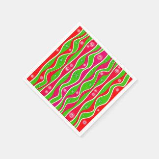 CHRISTMAS RED, WHITE & GREEN STRIPES PAPER NAPKIN