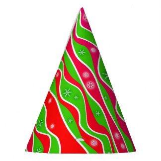 CHRISTMAS RED, WHITE & GREEN STRIPES PARTY HAT