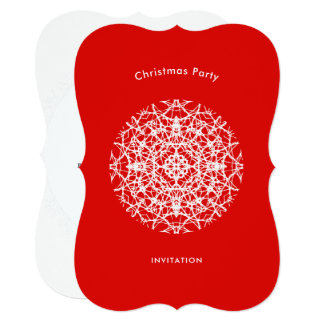 Christmas Red | White Pretty Snowflake Party Card