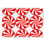 Christmas Red White Round Peppermint Candy Swirls Card