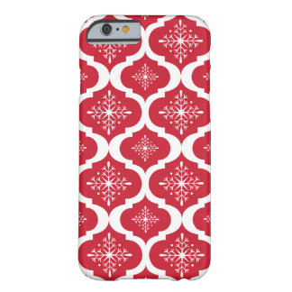 Christmas Red White Snowflakes Lattice Pattern Barely There iPhone 6 Case