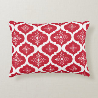 Christmas Red White Snowflakes Lattice Pattern Accent Pillow