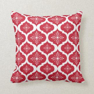 Christmas Red White Snowflakes Lattice Pattern Throw Pillows