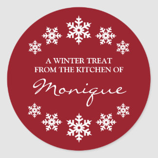 Christmas Red Winter Treat Label Snowflakes