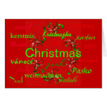 """""""Christmas Red Wreath Around The World"""" Card Cards"""