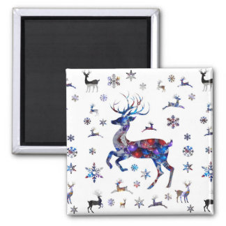 Christmas Reindeer 2 Inch Square Magnet