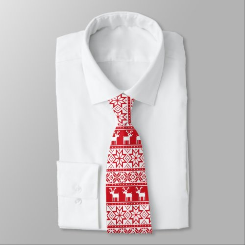 Christmas Reindeer and snowflake ugly sweater tie