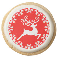 Christmas Reindeer and Snowflakes Holiday Treats Round Sugar Cookie