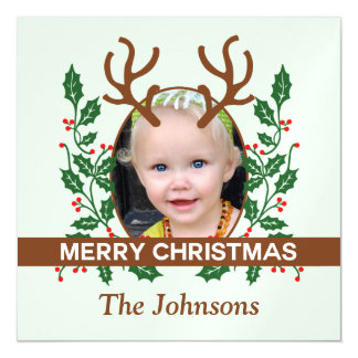 Christmas Reindeer Antlers Personalize Photo Magnetic Card