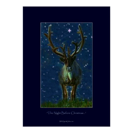 Christmas Reindeer Art Poster