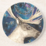 Christmas Reindeer at Night with a Shining Star Beverage Coasters