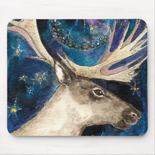 Christmas Reindeer at Night with a Shining Star Mousepad
