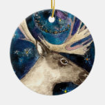 Christmas Reindeer at Night with a Shining Star Christmas Tree Ornament