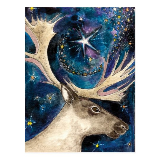 Christmas Reindeer at Night with a Shining Star Postcard