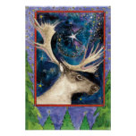 Christmas Reindeer at Night with a Shining Star Posters