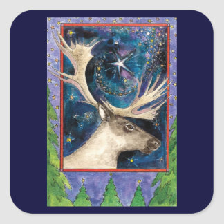 Christmas Reindeer at Night with a Shining Star Square Stickers