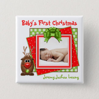 Christmas Reindeer Baby's First Christmas Button