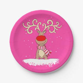 Christmas reindeer big antler pink paper plate
