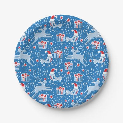 Christmas reindeer bird pattern blue paper plate 7 inch paper plate