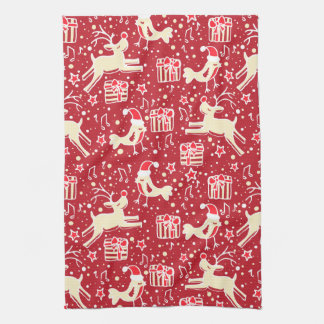 Christmas reindeer bird pattern red kitchen towel